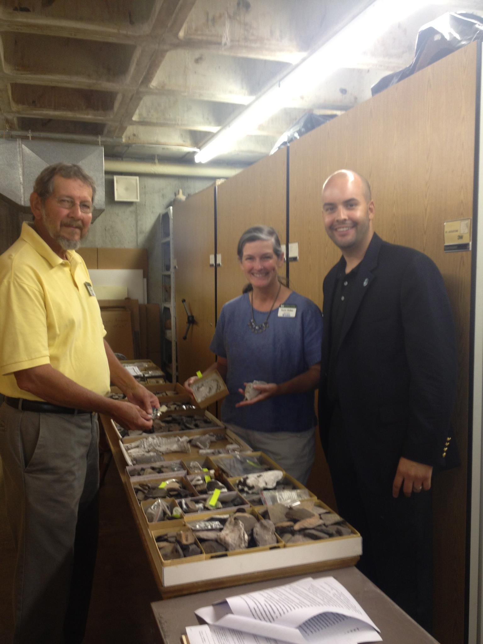 Manny Cid at University of Florida collecting the Tequesta Indian Artifacts for Town Display