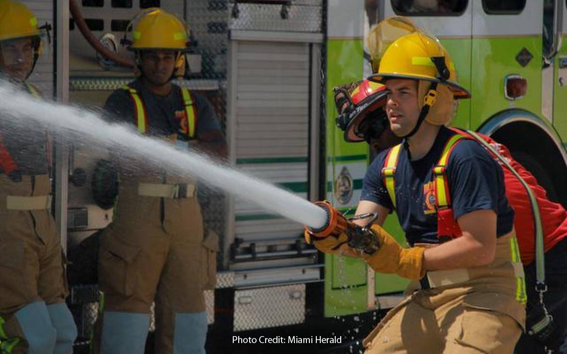 Manny Cid Firefighter for a Day training
