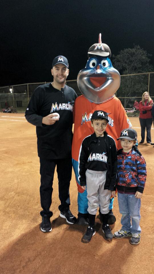 Manny throwing the First Pitch of the season at Miami Lakes Optimist Park