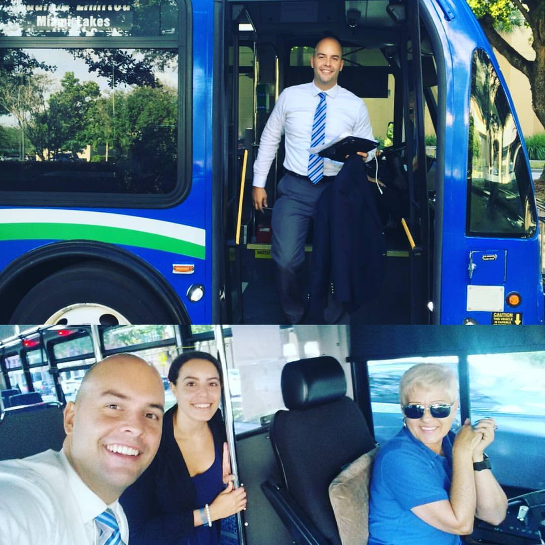 Manny taking the Miami Lakes Moover bus to a Council Meeting